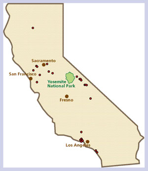 Map of State of California with dots representing mud snail infestations