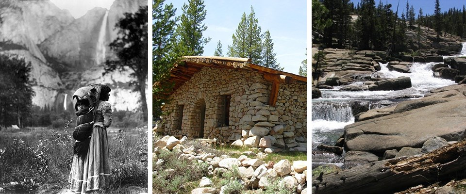 Photos showing Indian woman with basket, Parson's Lodge, and water flowing near Glen Aulin