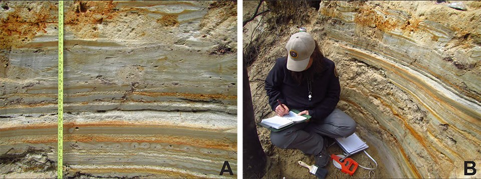 Field photos showing sedimentary textures and structures for bedded sands and silts deposited in a proglacial lacustrine setting