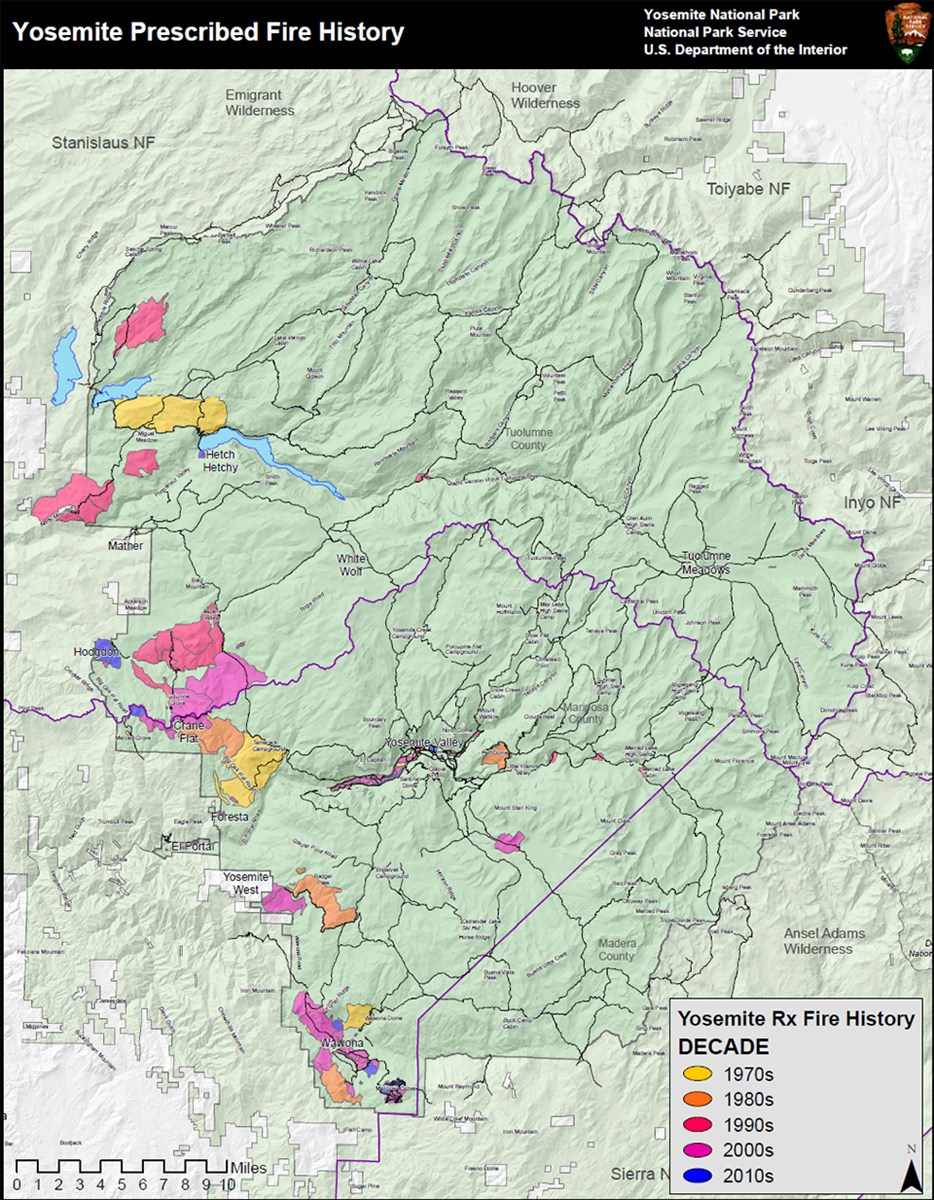 Map showing prescribed fire history by decade