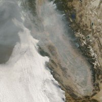 Satellite image of smoke