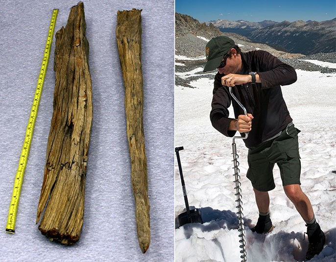 Two photos: one of wooden stakes and another of a person augering into a glacier.