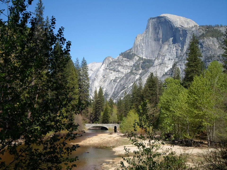 Looking east toward Stoneman Bridge and Half Dome