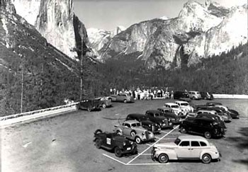 10 or more cars fill the Tunnel View Overlook