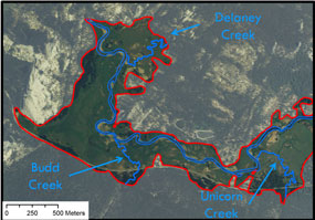Map showing three creeks that feed Tuolumne Meadows