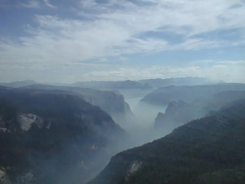 Smoke sitting in Yosemite Valley showing how the inversion layer can get during fires and campfires