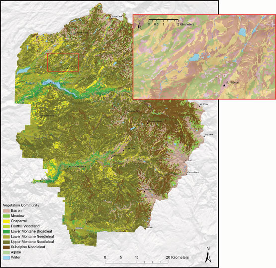 Colored regions of Yosemite map show 10 vegetation communities
