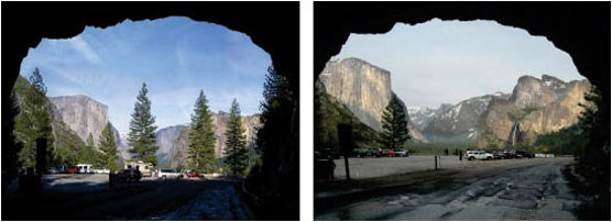 Two views from Tunnel View location side by side