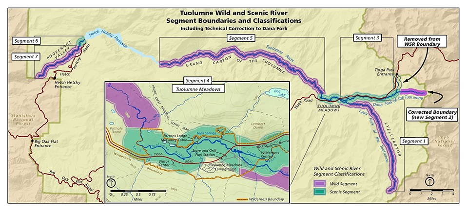 Map of Tuolumne Wild and Scenic River Segment Boundaries and Classifications