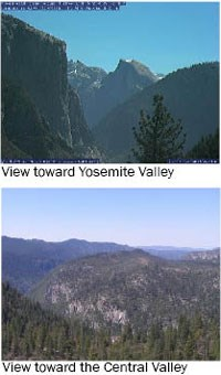 Webcam shows hazy view of Yosemite Valley