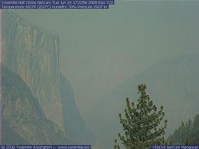 Smoky view of Yosemite Valley