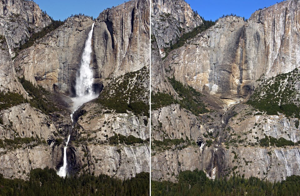 Two photos of Yosemite Falls, with spring runoff showing the waterfall in one photo and with the waterfall dry in the other