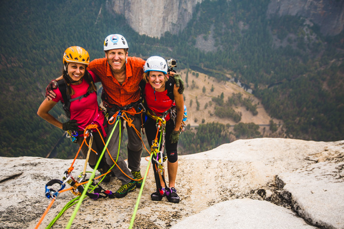 Left to Right: Jayme Moye, Hans Florine, and Fiona Thornewill reach the top of The Nose route on El Capitan at 2:30pm PST, Saturday September 12th, 2015