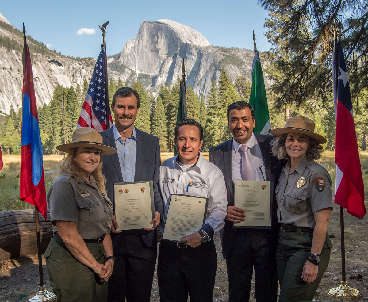 Yosemite rangers and representatives from Cumbres de Monterrey National Park in Mexico, Blue Mountains National Park in Australia, and Wadi Rum Protected Area in Jordan