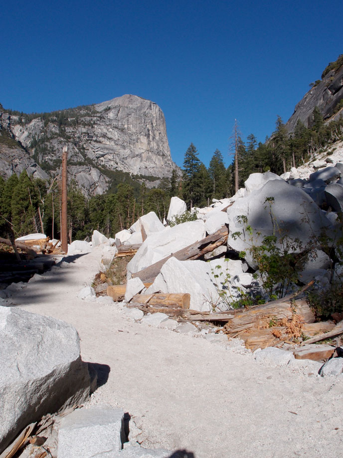 New trail through fresh granite boulders