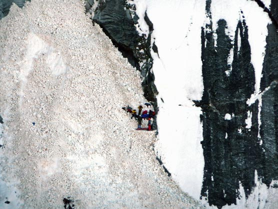 People on an avalanche chute