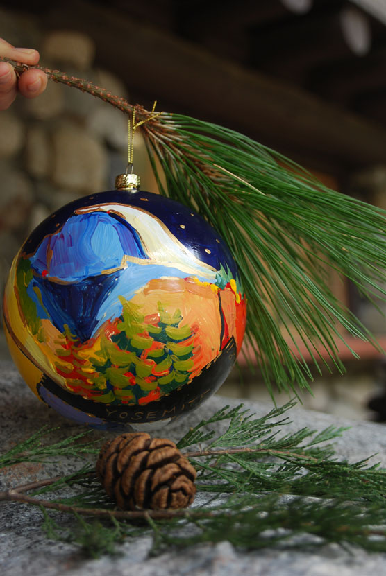 Christmas tree ornament with Half Dome painted on it