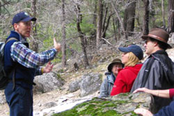 Pete Devine - Yosemite Conservancy naturalist on an outdoor excursion with visitors.