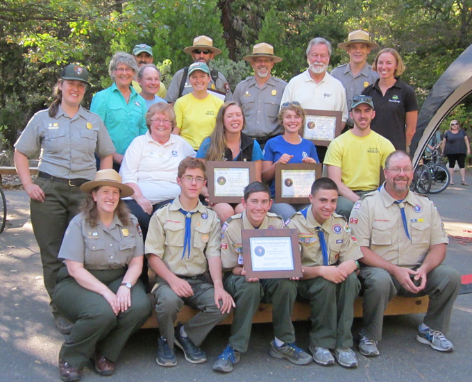 Group photo of the Yosemite National Park volunteer award recipients with park leadership at the award ceremony on National Public Lands Day, Saturday, September 26, 2015.
