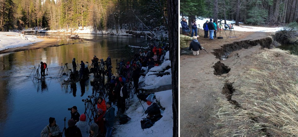 Photo on left shows people with tripods standing in river; photo on right shows a riverbank detaching and beginning to fall into the river