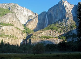 Morning view of Yosemite Falls from Cook's Meadow
