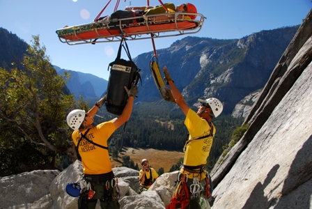 Yosemite SAR Technicians perform a climber rescue from the Royal Arches