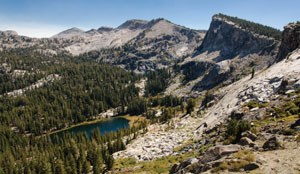 Looking down into the Ten Lakes Basin