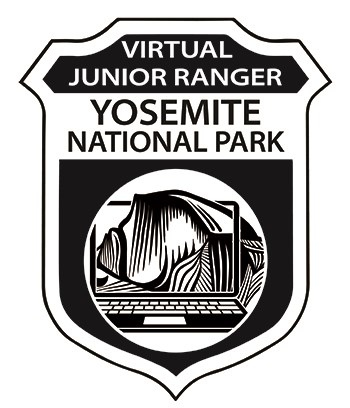 Image of Virtual Junior Ranger badge with Half Dome as if viewed through a computer screen.