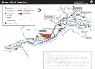 Map showing pedestrial trail from Yosemite Village to Horsetail Fall along Northside Drive