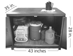 Food locker measuring 35 inches deep by 43 inches wide by 28 inches tall