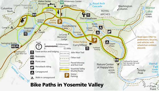 Map showing Yosemite Valley bike paths
