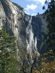 Bridalveil Fall veils the rocks over which it falls