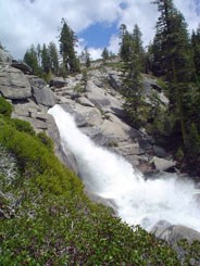 Uppermost section of Chilnualna Falls cascades over granite. Photo by Victoria Mates.