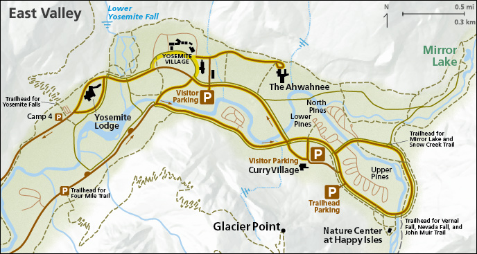 East Yosemite Valley parking map