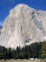 El Capitan rises over 3,000 feet above El Capitan Meadow