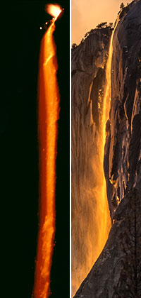 Embers pour over a cliff (left) while a waterfall is illuminated by sunset color (right)