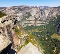 View of Yosemite Valley and Yosemite Falls from Glacier Point.