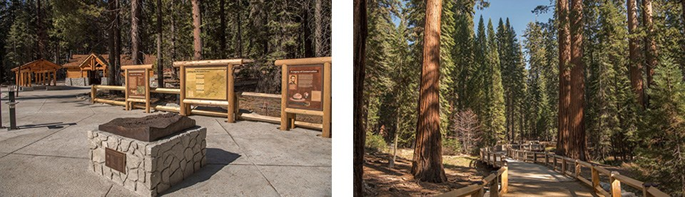Left photo shows the new Mariposa Grove Welcome Plaza and signs, the right photo shows a new trail and boardwalk in the Grove.