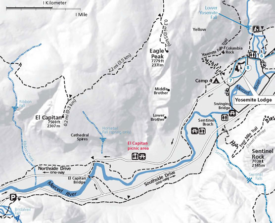 Map to Horsetail Falls, Yosemite NP