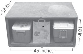 Food locker measuring 33 inches deep by 45 inches wide by 18 inches tall