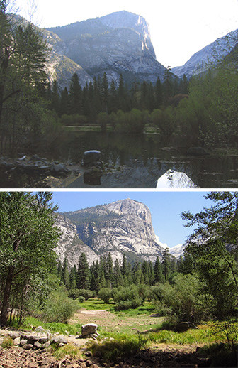 Mirror Lake in April (top) and August (bottom)