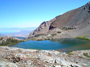 Upper Sardine Lake (foreground) with Mono Lake in distance. Photo by Victoria Mates.