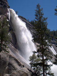 Nevada Fall from below and fro side, seen from Mist Trail