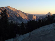 Clouds Rest (left) and Half Dome (right) at sunset