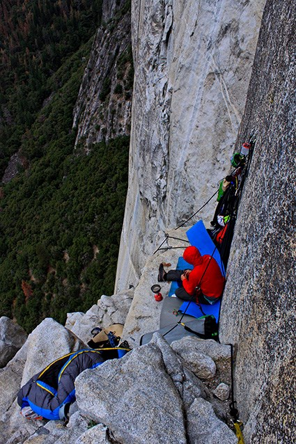Climbers and their gear sleeping on the side of El Capitan