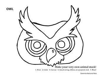 A black and white line drawing of an owl mask