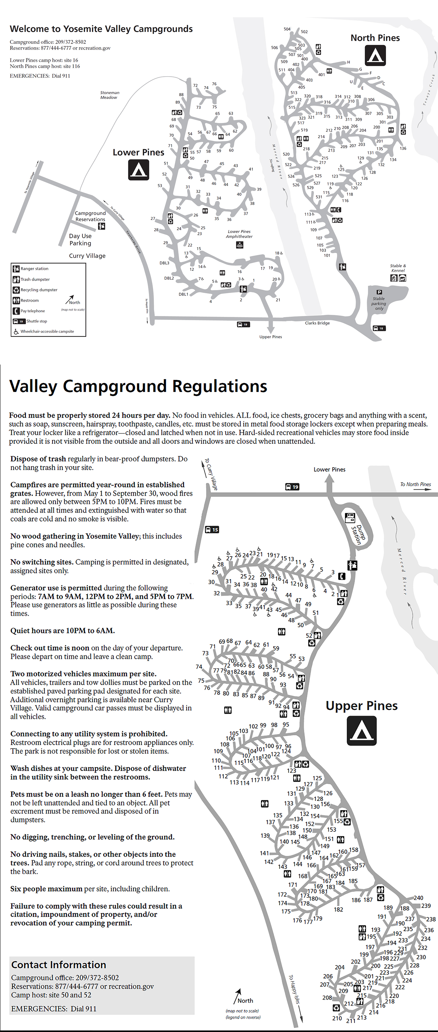 North Pines Campground Map Pines Campgrounds   Yosemite National Park (U.S. National Park