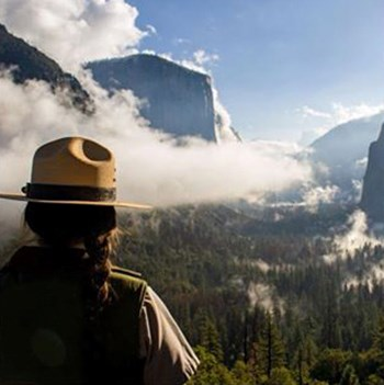 View of the back of a ranger with Yosemite Valley in background.