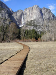 A boardwalk leads through a meadow toward Upper Yosemite Fall