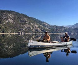 People in a canoe on Tenaya Lake